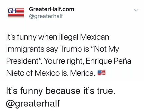 "Illegal Mexican: GH GreaterHalf.com  @greaterhalf  It's funny when illegal Mexican  immigrants say Trump is ""Not My  President"". You're right, Enrique Peña  Nieto of Mexico is. Merica. It's funny because it's true. @greaterhalf"