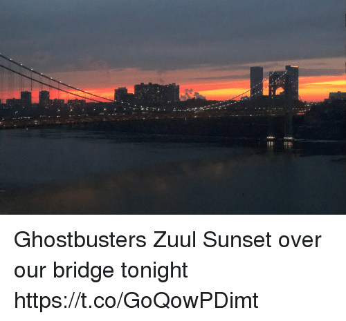 Ghostbusters: Ghostbusters Zuul Sunset over our bridge tonight https://t.co/GoQowPDimt