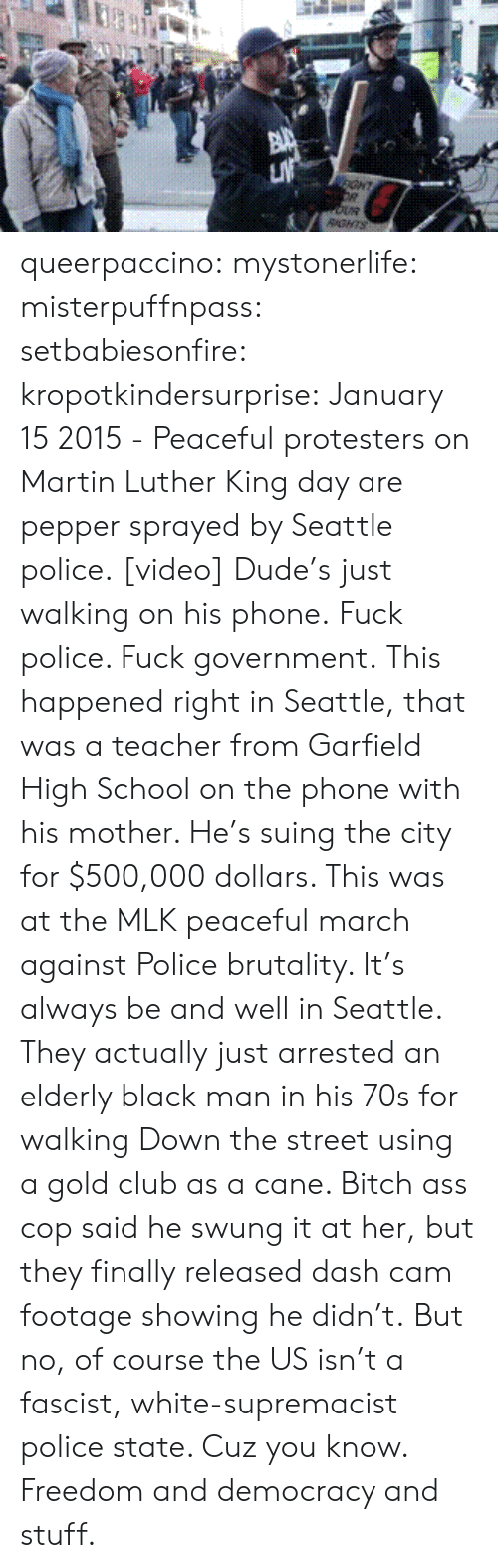 police brutality: GHT  RGNTS queerpaccino: mystonerlife:  misterpuffnpass:  setbabiesonfire:  kropotkindersurprise: January 15 2015 - Peaceful protesters on Martin Luther King day are pepper sprayed by Seattle police. [video] Dude's just walking on his phone.  Fuck police. Fuck government.  This happened right in Seattle, that was a teacher from Garfield High School on the phone with his mother. He's suing the city for $500,000 dollars. This was at the MLK peaceful march against Police brutality. It's always be and well in Seattle. They actually just arrested an elderly black man in his 70s for walking Down the street using a gold club as a cane. Bitch ass cop said he swung it at her, but they finally released dash cam footage showing he didn't.  But no, of course the US isn't a fascist, white-supremacist police state. Cuz you know. Freedom and democracy and stuff.
