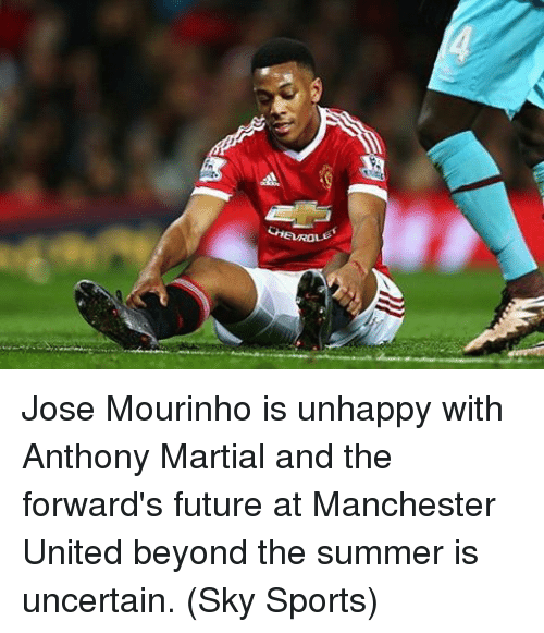 Sky Sport: Gia ROLF Jose Mourinho is unhappy with Anthony Martial and the forward's future at Manchester United beyond the summer is uncertain. (Sky Sports)