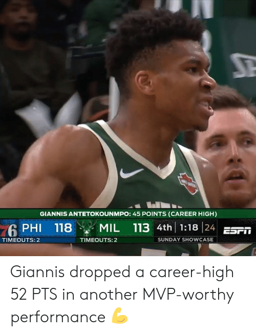 Giannis Antetokounmpo: GIANNIS ANTETOKOUNMPO: 45 POINTS (CAREER HIGH)  PHI 118 MIL 113 4th 1:18 24 ES  TIMEOUTS: 2  TIMEOUTS: 2  SUNDAY SHOWCASE Giannis dropped a career-high 52 PTS in another MVP-worthy performance 💪