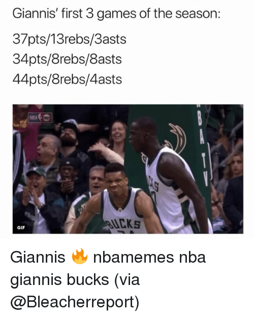 Basketball, Gif, and Nba: Giannis' first 3 games of the season:  37pts/13rebs/3asts  34pts/8rebs/8asts  44pts/8rebs/4asts  NBA  UCKS  GIF Giannis 🔥 nbamemes nba giannis bucks (via @Bleacherreport)