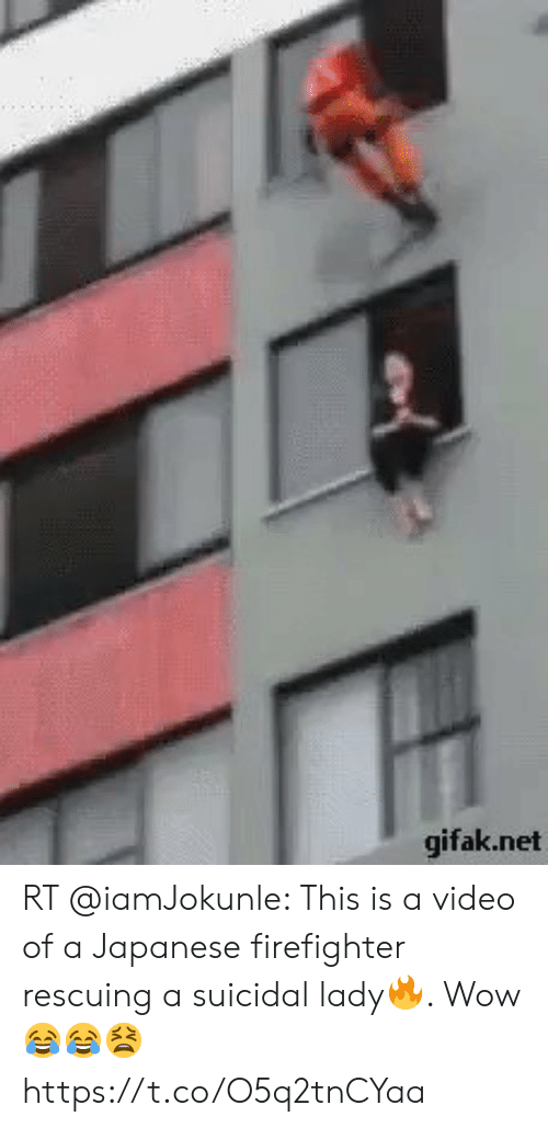 Gifak: gifak.net RT @iamJokunle: This is a video of a Japanese firefighter rescuing a suicidal lady🔥. Wow 😂😂😫   https://t.co/O5q2tnCYaa