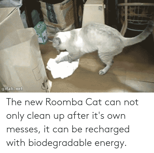 Energy, Roomba, and Net: gifak. net The new Roomba Cat can not only clean up after it's own messes, it can be recharged with biodegradable energy.