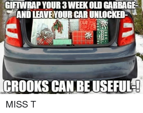 crook: GIFTWRAP YOUR 3WEEKOLOGARBAGE  AND LEAVEYOUR CAR UNLOCKED-  CROOKS CANBEUSEFUL! MISS T