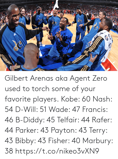 fisher: Gilbert Arenas aka Agent Zero used to torch some of your favorite players.  Kobe: 60 Nash: 54 D-Will: 51 Wade: 47 Francis: 46 B-Diddy: 45 Telfair: 44 Rafer: 44 Parker: 43 Payton: 43 Terry: 43 Bibby: 43 Fisher: 40 Marbury: 38   https://t.co/nikeo3vXN9