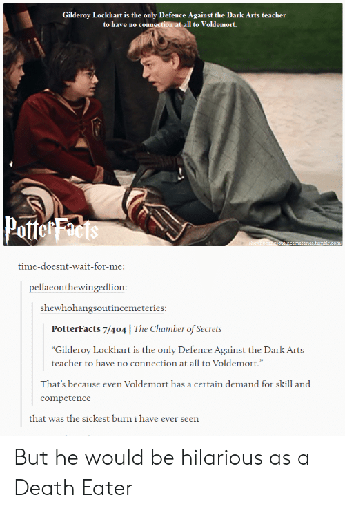 """wait for me: Gilderoy Lockhart is the only Defence Against the Dark Arts teacher  to have no connection at all to Voldemort.  Potte  cemeteries.tum  time-doesnt-wait-for-me:  pellaeonthewingedlion  shewhohangsoutincemeteries  PotterFacts 7/404 