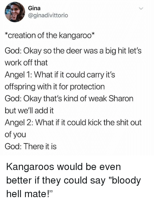 "Deer, God, and Memes: Gina  @ginadivittorio  *creation of the kangaroo*  God: Okay so the deer was a big hit let's  work off that  Angel 1: What if it could carry it's  offspring with it for protection  God: Okay that's kind of weak Sharon  but we'll add it  Angel 2: What if it could kick the shit out  of you  God: There it is Kangaroos would be even better if they could say ""bloody hell mate!"""