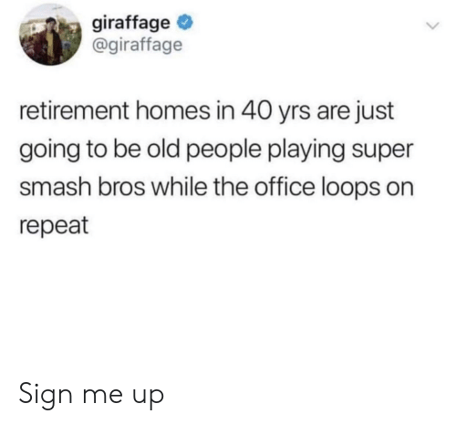 Smash Bros: giraffage  @giraffage  retirement homes in 40 yrs are just  going to be old people playing super  smash bros while the office loops on  repeat Sign me up