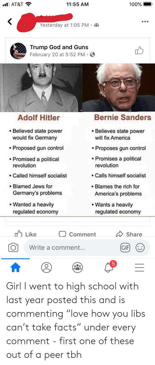 """peer: Girl I went to high school with last year posted this and is commenting """"love how you libs can't take facts"""" under every comment - first one of these out of a peer tbh"""