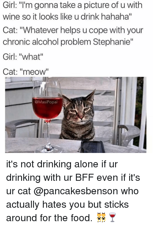 """Drinking Alone: Girl: """"I'm gonna take a picture of u with  wine so it looks like u drink hahaha""""  Cat: """"Whatever helps u cope with your  chronic alcohol problem Stephanie""""  Girl: """"what""""  Cat: """"meow""""  @Masi Popal it's not drinking alone if ur drinking with ur BFF even if it's ur cat @pancakesbenson who actually hates you but sticks around for the food. 👯🍷"""