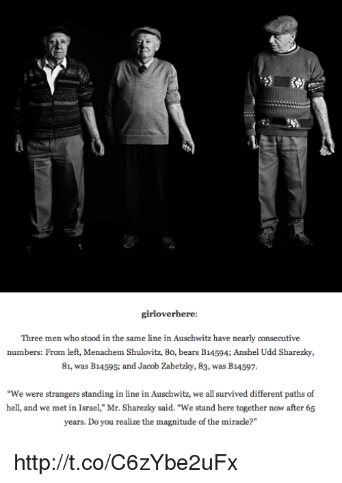 """Memes, Auschwitz, and 🤖: girl overhere:  Three men who stood in the same line in Auschwitz have nearly consecutive  numbers: From left, Menachem Shulovitz, 8o, bears B14594; Anshel Udd Sharezky,  81, was B14595; and Jacob Zabetzky, 83, was B14597.  """"We were strangers standing in line in Auschwitz, we all survived different paths of  hell, and we met in Israel,"""" Mr. Sharezky said.""""We stand here together now after 65  years. Do you realize the magnitude of the miracle?"""" http://t.co/C6zYbe2uFx"""