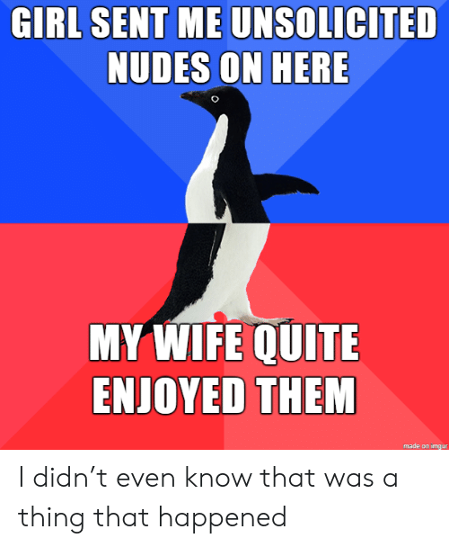 Enjoyed: GIRL SENT ME UNSOLICITED  NUDES ON HERE  MY WIFE QUITE  ENJOYED THEM  made on imgur I didn't even know that was a thing that happened
