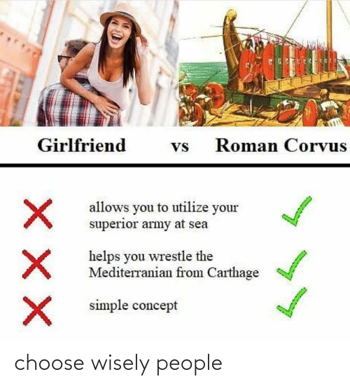 carthage: Girlfriend  Roman Corvus  Vs  allows you to utilize your  superior army at sea  helps you wrestle the  Mediterranian from Carthage  simple concept choose wisely people