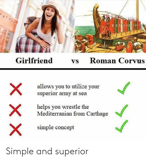 carthage: Girlfriend  Roman Corvus  Vs  allows you to utilize your  superior army at sea  helps you wrestle the  Mediterranian from Carthage  simple concept Simple and superior