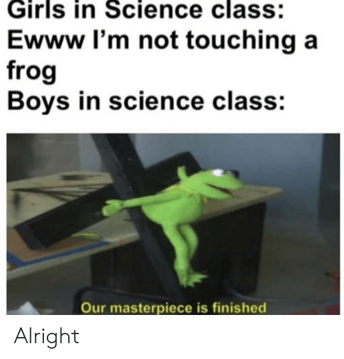 Science Class: Girls in Science class:  Ewww I'm not touching a  frog  Boys in science class:  Our masterpiece is finished Alright