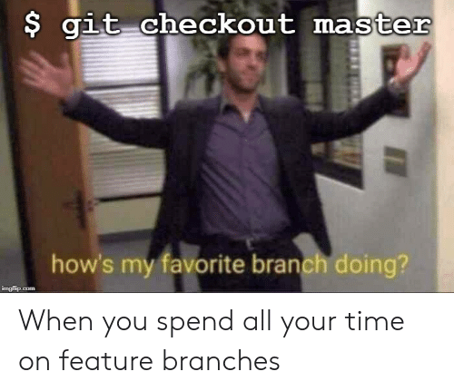git: $ git checkout master  how's my favorite branch doing?  imgflip.com When you spend all your time on feature branches