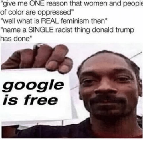 """oppressed: """"give me ONE reason that women and people  of color are oppressed""""  """"well what is REAL feminism then""""  """"name a SINGLE racist thing donald trump  has done""""  google  is free"""