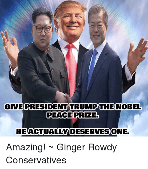 Memes, Amazing, and Rowdy: GIVE  PRESIDENT TRUMPTHE  NOBEL  PEACE PRIZE  HE  ACTUALLY DESERVES  ONE. Amazing! ~ Ginger  Rowdy Conservatives