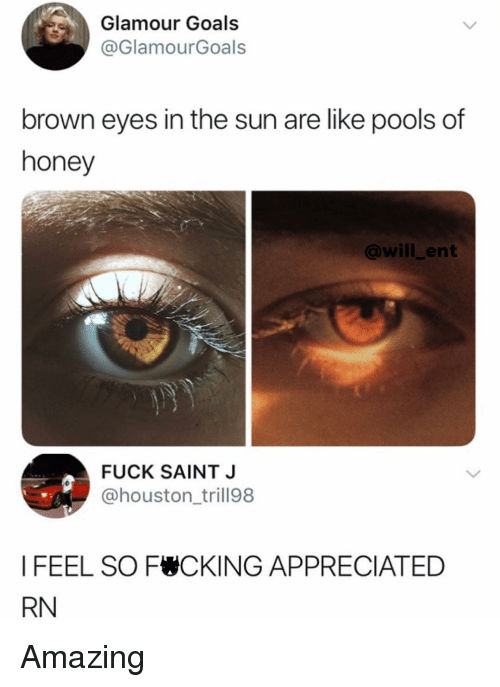 Goals, Memes, and Fuck: Glamour Goals  @GlamourGoals  brown eyes in the sun are like pools of  honey  @will_ent  FUCK SAINT J  @houston_trill98  I FEEL SO F CKING APPRECIATED  RN Amazing