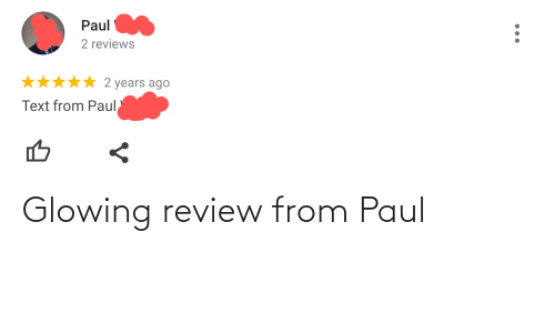 glowing: Glowing review from Paul