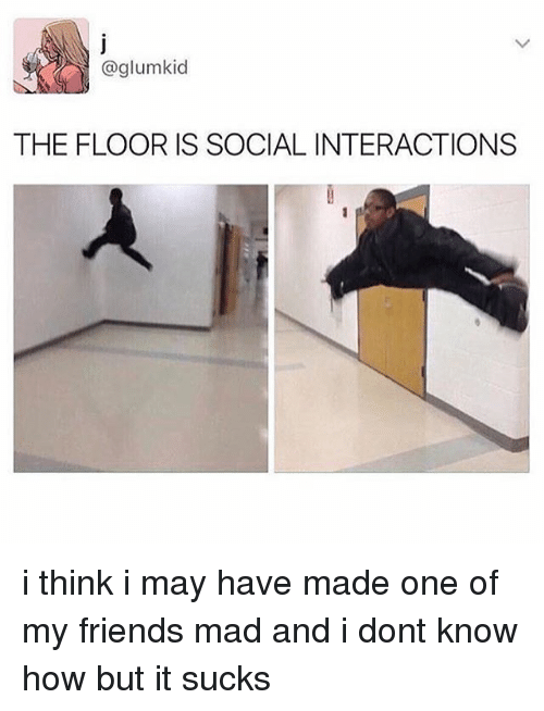 Friends, Memes, and Mad: @glum kid  THE FLOOR IS SOCIAL INTERACTIONS i think i may have made one of my friends mad and i dont know how but it sucks