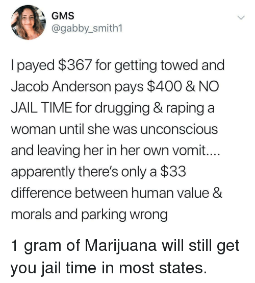 gabby: GMS  @gabby_smith1  lpayed $367 for getting towed and  Jacob Anderson pays $400 & NO  JAIL TIME for drugging & raping a  woman until she was unconscious  and leaving her in her own vomit...  apparently there's only a $33  difference between human value 8  morals and parking wrong 1 gram of Marijuana will still get you jail time in most states.
