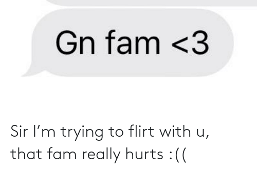 trying to flirt: Gn fam <3 Sir I'm trying to flirt with u, that fam really hurts :((