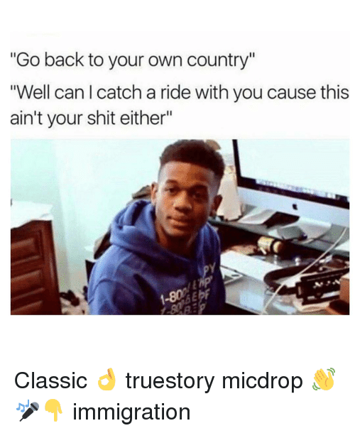 """Memes, 🤖, and Classics: """"Go back to your own country""""  """"Well can I catch a ride with you cause this  ain't your shit either"""" Classic 👌 truestory micdrop 👋🎤👇 immigration"""