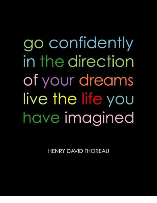 Living The Life: go confidently  in the direction  of your dreams  live the life you  have imagined  HENRY DAVID THOREAU
