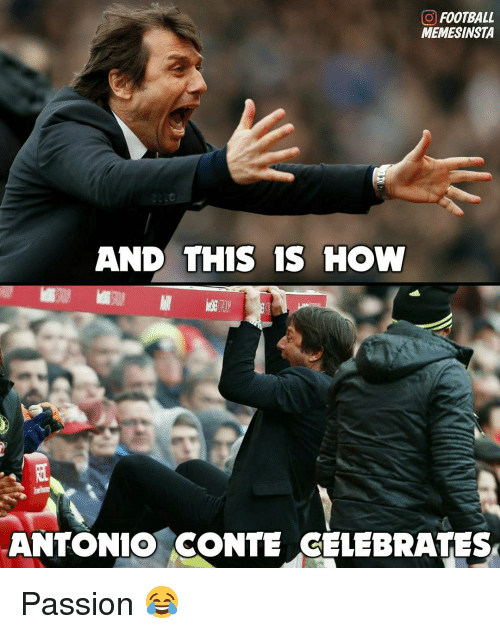 Memes, 🤖, and Passions: GO FOOTBALL  MEMESINSTA  AND THIS IS HOW  ANTONIO CONTE CELEBRATES Passion 😂