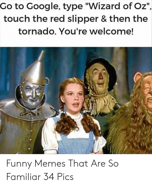 "youre welcome: Go to Google, type ""Wizard of Oz""  touch the red slipper & then the  tornado. You're welcome! Funny Memes That Are So Familiar 34 Pics"