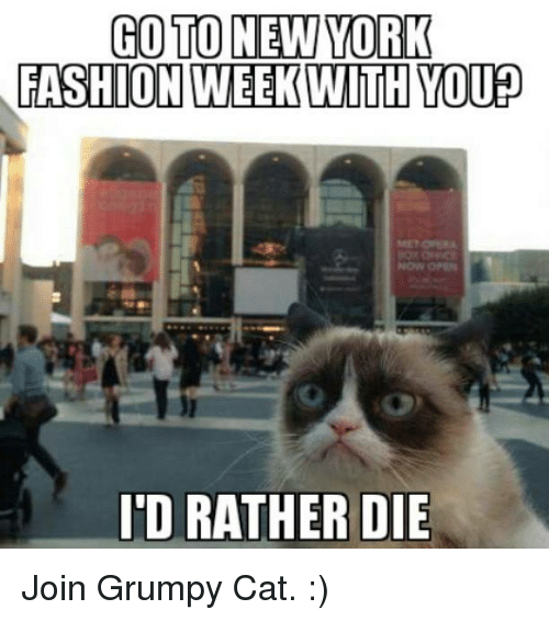 new york fashion week: GO TO NEW YORK  FASHION  WEEK WITH YOU  ID RATHER DIE Join Grumpy Cat. :)