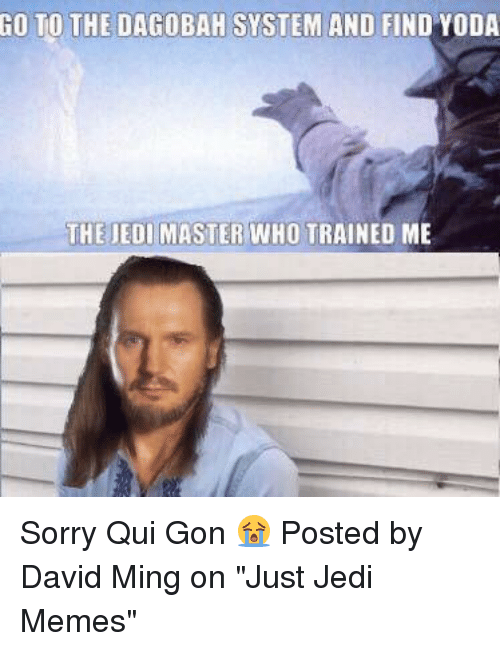 """qui gon: GO TO THE DAGOBAH SYSTEM AND FIND YODA  THE JEDI MASTER WHO TRAINED ME Sorry Qui Gon 😭  Posted by David Ming on """"Just Jedi Memes"""""""
