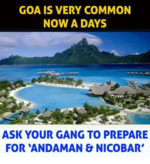 Memes, Gang, and Common: GOA IS VERY COMMON  NOW A DAYS  ASK YOUR GANG TO PREPARE  FOR ANDAMAN & NICOBAR'
