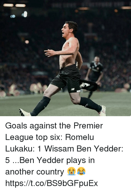 Goals, Premier League, and Soccer: Goals against the Premier League top six:   Romelu Lukaku: 1 Wissam Ben Yedder: 5  ...Ben Yedder plays in another country 😭😂 https://t.co/BS9bGFpuEx