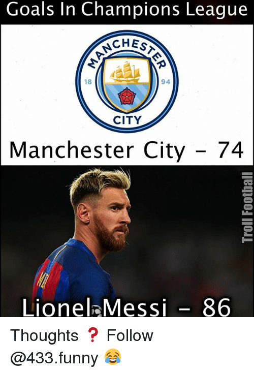Funny, Goals, and Memes: Goals Champions League  CHESA  18  94  CITY  Manchester City  74  Lionel Messi 86 Thoughts ❓ Follow @433.funny 😂
