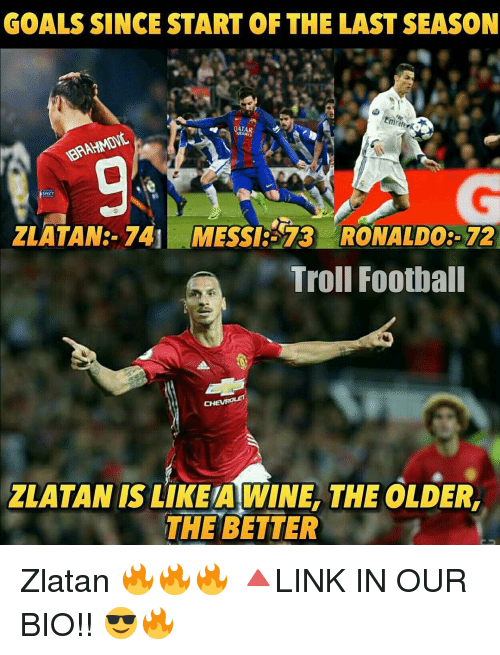 spect: GOALS SINCE START OF THE LAST SEASON  Emraterki  QATAR  SPECT  ZLATAN 741 MESSICE 13 RONALDO9-72  Troll Football  CH  ZLATAN ISLIKEAWINE, THE OLDERn  THE BETTER Zlatan 🔥🔥🔥 🔺LINK IN OUR BIO!! 😎🔥