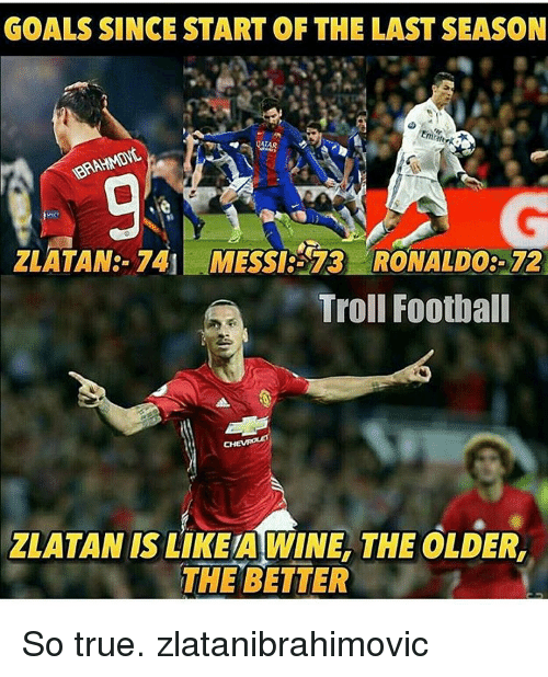 Football, Goals, and Soccer: GOALS SINCE START OF THE LAST SEASON  ZLATAN: 741 MESSI25 73 RONALDO3-72  Troll Football  ZLATAN IS LIKEA WINE, THE OLDER,  THE BETTER So true. zlatanibrahimovic