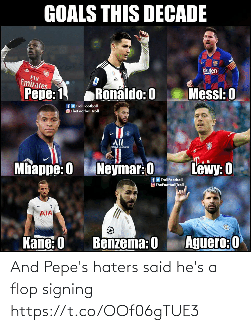 Lewy: GOALS THIS DECADE  bel  okuten  Fly  Emirates  Messi: 0  Pepe: 1  Ronaldo: 0  f TrollFootball  O TheFootballTroll  All  CCOR LIVE LIMITLESS  Neymar: 0  Lewy: 0  Mbappe: 0  fy TrollFootball  O TheFootballTroll  AIA  Aguero:0  Kane: 0  Benzema: 0 And Pepe's haters said he's a flop signing https://t.co/OOf06gTUE3