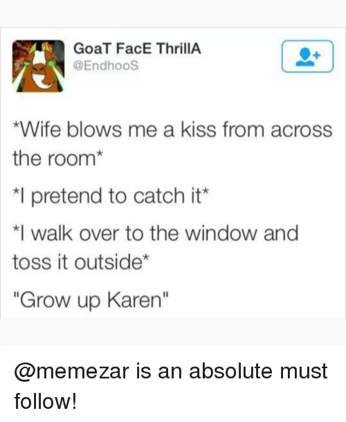 """toss it: GoaT FacE ThrillA  @EndhooS  *Wife blows me a kiss from across  the room*  *I pretend to catch it'  walk over to the window and  toss it outside*  """"Grow up Karen"""" @memezar is an absolute must follow!"""