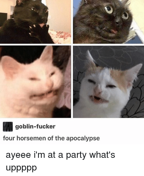 Ayeeee: goblin-fucker  four horsemen of the apocalypse ayeee i'm at a party what's uppppp