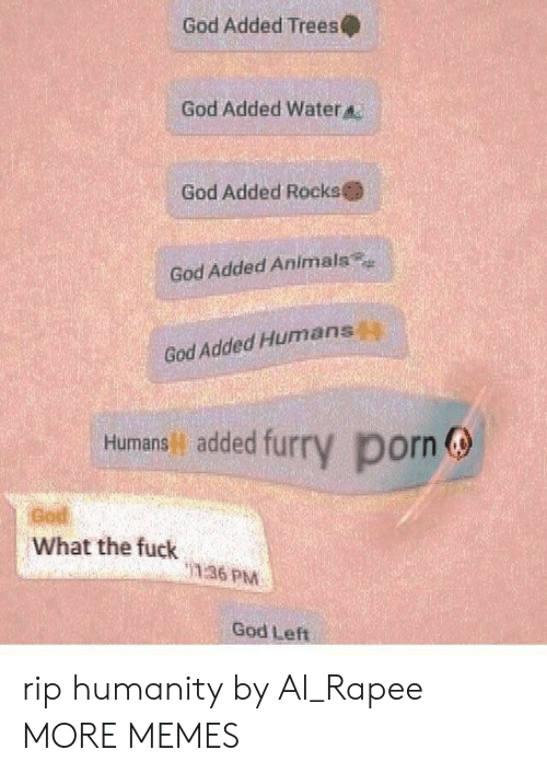 Gods Left: God Added Trees  God Added Water  God Added Rocks  God Added Animals  God Added Humans  Humans added fur  y porn  God  What the fuck  136 PM  God Left rip humanity by Al_Rapee MORE MEMES