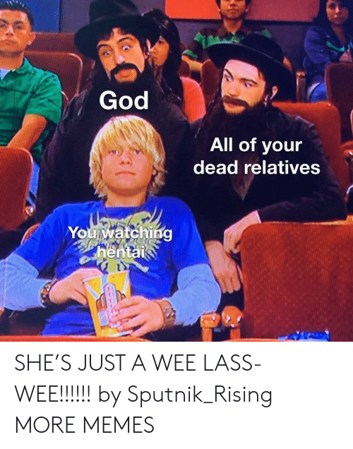 wee: God  All of your  dead relatives  You watching  hentai  వగ SHE'S JUST A WEE LASS- WEE!!!!!! by Sputnik_Rising MORE MEMES