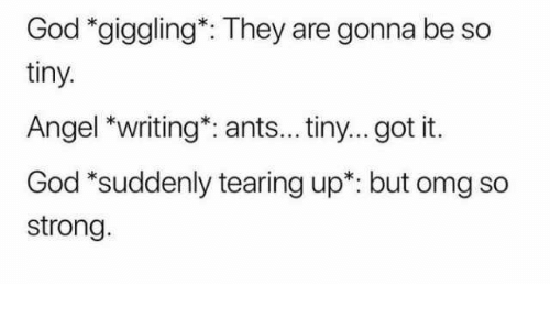 God, Omg, and Angel: God *giggling*: They are gonna be so  tiny.  Angel *writing*: ants... tiny... got it.  God *suddenly tearing up*: but omg so  strong