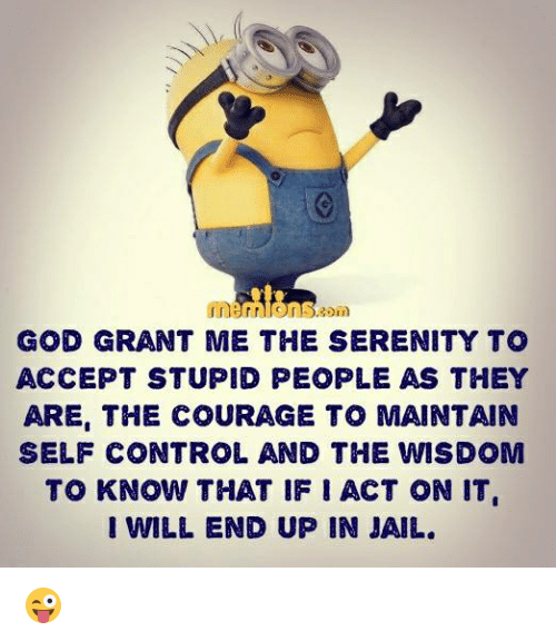 Jail, Memes, and Control: GOD GRANT ME THE SERENITY TO  ACCEPT STUPID PEOPLE AS THEY  ARE, THE COURAGE TO MAINTAIN  SELF CONTROL, AND THE WISDOM  TO KNOW THAT IF ACT ON IT  I WILL END UP IN JAIL. 😜