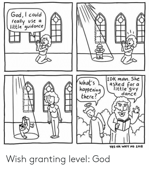 what's happening: God, I could  really use a  little'guidance  IDK man. She  asked for a  little'guy  dance  what's  happening  there?  Yes ok WHY NO 2018 Wish granting level: God