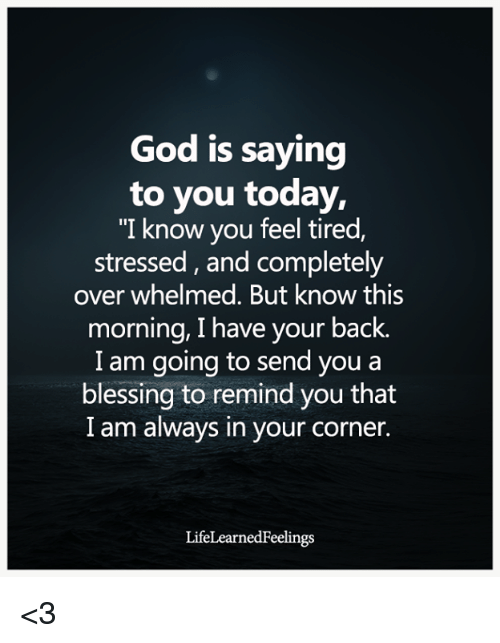 "God, Memes, and Today: God is saying  to you today,  ""I know you feel tired,  stressed, and completely  over whelmed. But know this  morning, I have your back.  I am going to send you a  blessing to remind you that  I am always in your corner.  LifeLearnedFeelings <3"