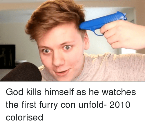 Colorised: God kills himself as he watches the first furry con unfold- 2010 colorised