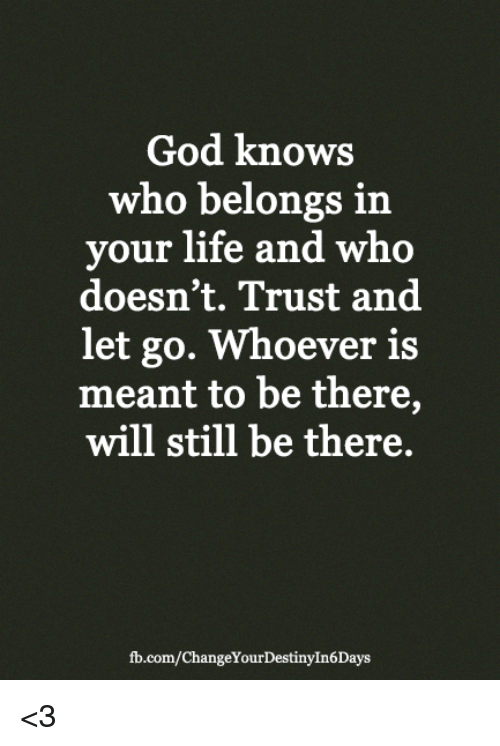 God, Life, and Memes: God knows  who belongs in  ur life and who  doesn't. Trust and  let go. Whoever is  meant to be there,  will still be there.  fb.com/ChangeYourDestinyIn6Days <3